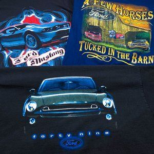 Ford XL LOT OF 3 T-Shirts Mustang Forty Nine Cars